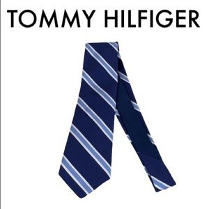 TOMMY HILFIGER BLUE AND WHITE MEN'S TIE